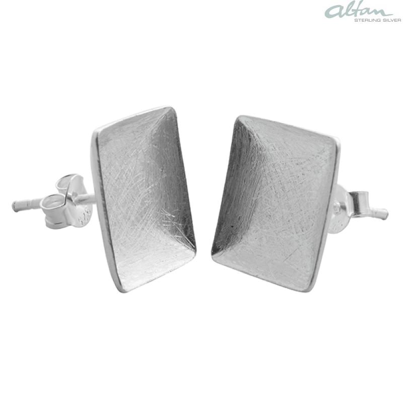 Silberschmuck ohrstecker  Quadrat - Silber Ohrstecker plain - gebürstet/poliert- altansilver.de
