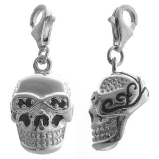 Totenkopf tätowiert - Silber Charms - diamantiert