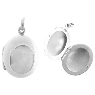 Medaillon oval breit - Silber Medallion - poliert