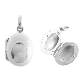 Medaillon oval schmal - Silber Medallion - poliert