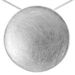 Scheibe gewölbt - Silber Anhänger plain -...