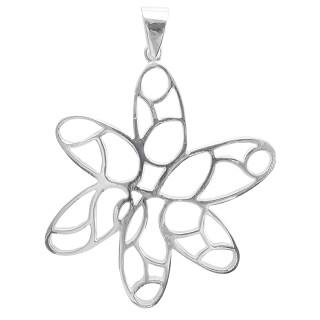Sommerblume - Silber Anhänger plain - poliert