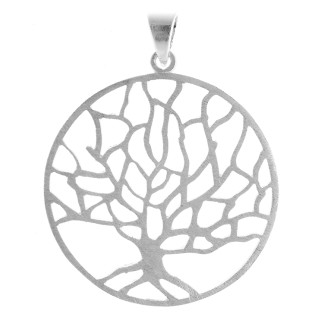 Lebensbaum - Silber Anhänger plain - gebürstet