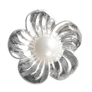 Blume mit Perle - Silber Perlenanhänger - poliert