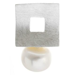 Perle mit Rahmen - Silber Perlenanhänger - gebürstet
