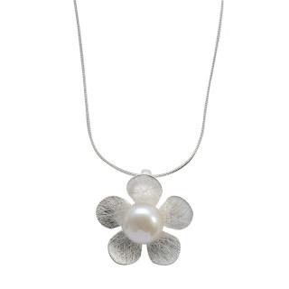 Gänseblümchen - Silber Perlenanhänger - gebürstet