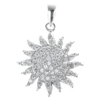 Strahlende Sonne - Silber Anhänger Zirkonia - poliert