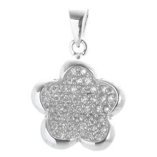 Blumenglanz - Silber Anhänger Zirkonia - poliert