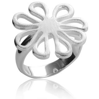 Ring Margerite - Silberring plain - mattiert