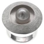 Ricinus - Silber Perlenring - gebürstet