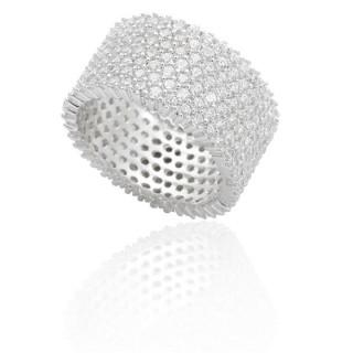 Ring Sternenhimmel breit - Silber Ring Zirkonia - rhodiniert