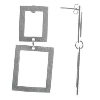 Kubist - Silber Ohrringe plain - gebürstet