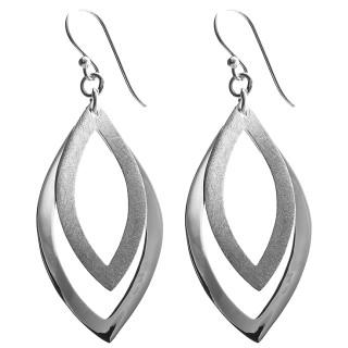 Marikina - Silber Ohrringe plain - gebürstet/poliert