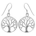 Lebensbaum - Silber Ohrringe plain - poliert
