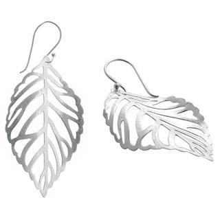 Blättertanz - Silber Ohrringe plain - gebürstet