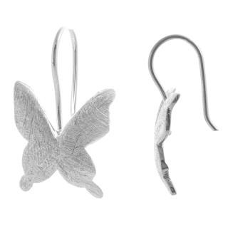 Schmetterling - Silber Ohrringe plain - gebürstet/poliert