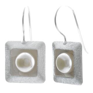 Square - Silber Perlenohrringe - gebürstet/poliert