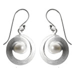 Perle - Silber Perlenohrringe - gebürstet/poliert