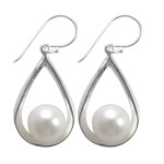 Tropfen mit Perle - Silber Perlenohrringe - poliert
