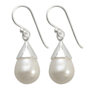 Perlenhut - Silber Perlenohrringe - poliert