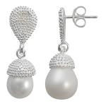 Perle Haselnuss - Silber Perlenohrringe - poliert