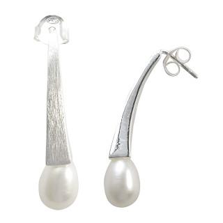 Perlenschweif - Silber Perlenohrringe - mattiert/poliert