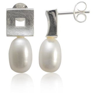 Perle mit Rahmen - Silber Perlenohrringe - gebürstet/poliert