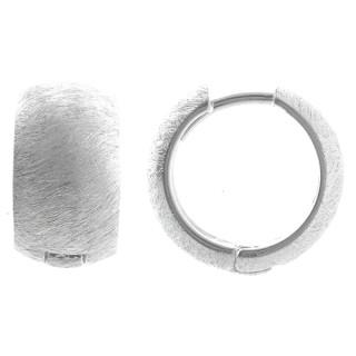 Klappcreole gebürtstet - Silber Creolen - gebürstet