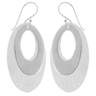 Ohrhänger Duo - Silber Ohrringe plain - mattiert/poliert