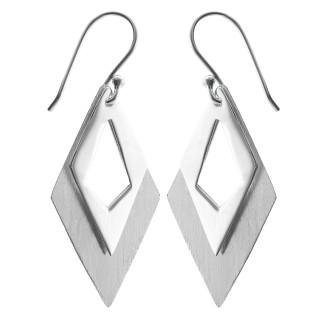 Ohrhänger Duo - Silber Ohrringe plain - gebürstet/poliert