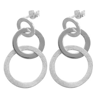 Ohrring Vintage - Silber Ohrringe plain - gebürstet/poliert
