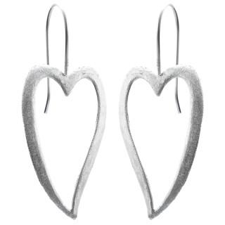 Herz - Silber Ohrringe plain - gebürstet/poliert
