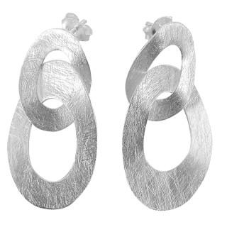 Ohrring Vintage - Silber Ohrringe plain - gebürstet