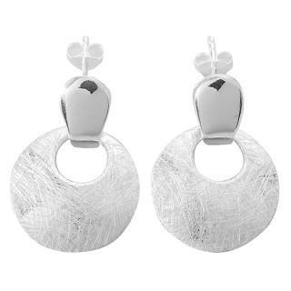 Ohrring Sphinx rund - Silber Ohrringe plain - gebürstet/poliert