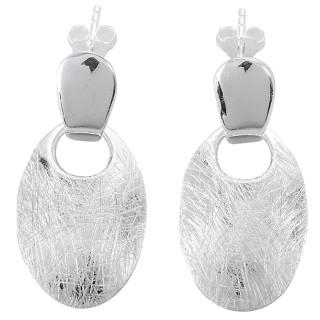 Ohrring Sphinx oval - Silber Ohrringe plain - gebürstet/poliert