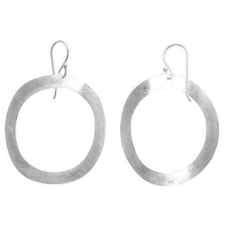 Ohrring Oval groß - Silber Ohrringe plain - gebürstet