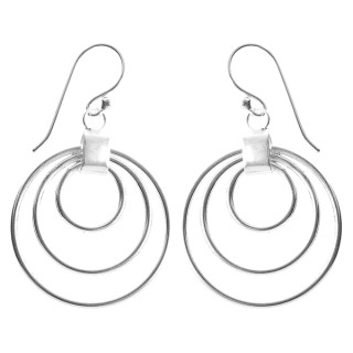 Ohrring Dreikreis - Silber Ohrringe plain - poliert
