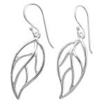 Blattader - Silber Ohrringe plain - poliert