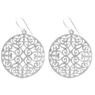 Ornamentmandala - Silber Ohrringe plain - gebürstet