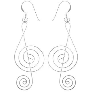 Notenschlüssel filigran - Silber Ohrringe plain - poliert