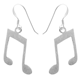 Noten - Silber Ohrringe plain - gebürstet/poliert