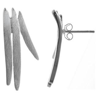 Dreizack - Silber Ohrstecker plain - gebürstet
