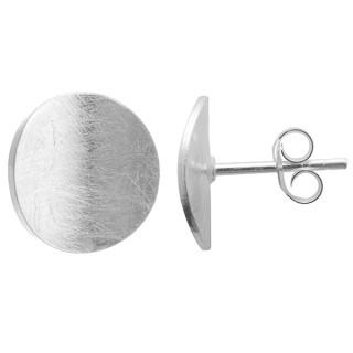 Scheibe gewölbt - Silber Ohrstecker plain - gebürstet/poliert