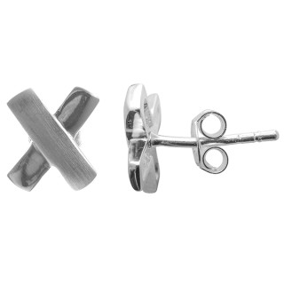 X Ohrstecker - Silber Ohrstecker plain - mattiert/poliert