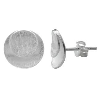 Ovalscheibe in Scheibe - Silber Ohrstecker plain - gebürstet