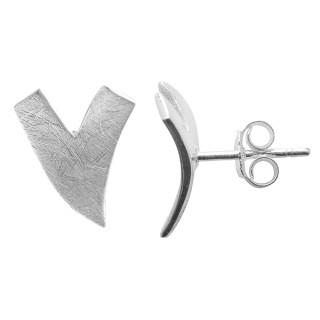 V Ohrstecker - Silber Ohrstecker plain - gebürstet/poliert