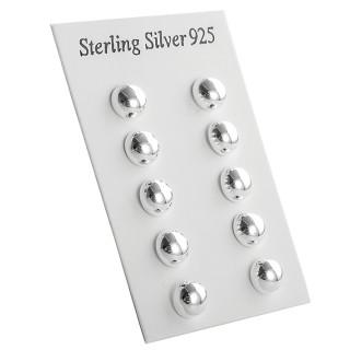 Halbkugel - 6/8/10/12/14 mm polliert - Silber Ohrstecker plain - poliert