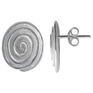 Spirale - Silber Ohrstecker plain - poliert