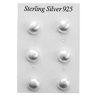 Halbkugel - 8 /10 /12 mm mattiert - Silber Ohrstecker plain - mattiert
