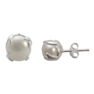 Clara - Silber Perlenohrstecker - poliert